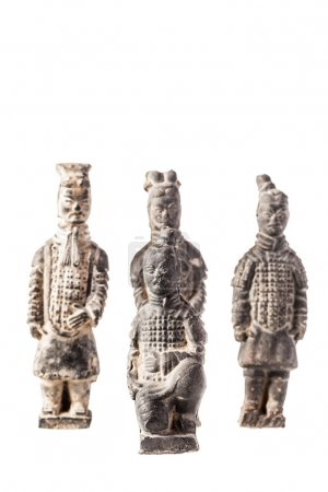 The famous xian clay warriors isolated over a white background