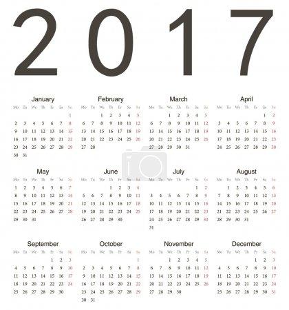 Simple european square calendar 2017