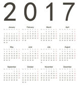 Simple european square 2017 year vector calendar Week starts from Monday