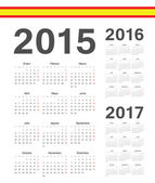 Set of simple Spanish 2015 2016 2017 year vector calendars Week starts from Mondays