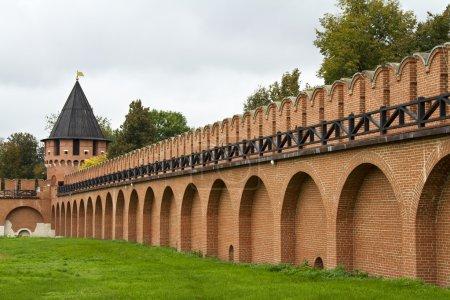 Brick wall and guard tower of the Tula Kremlin