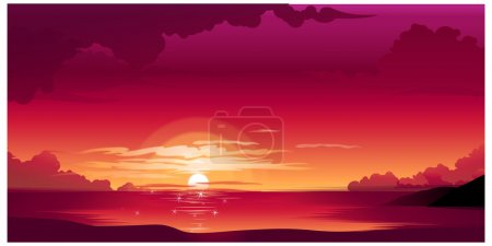 Illustration for Beautiful sunset above the sea - Royalty Free Image