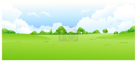 Illustration for Green landscape with blue sky - Royalty Free Image