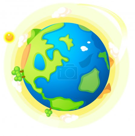 Illustration for This illustration is a common natural landscape. Globe with green landscape and sun - Royalty Free Image