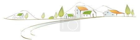 Photo pour Cette illustration est un paysage urbain commun. Maisons sur paysage - image libre de droit