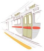 Underground train station platform and train
