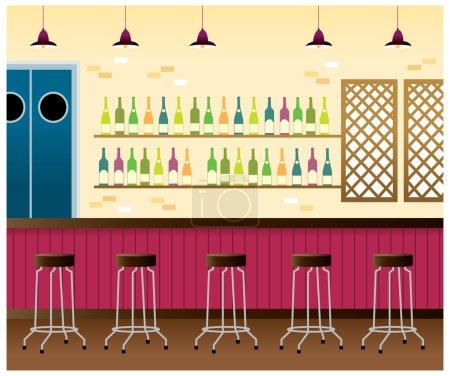 Illustration pour Bar intérieur - image libre de droit