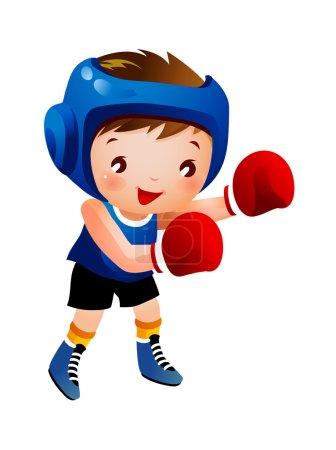 Illustration pour Garçon avec gant de boxe - image libre de droit