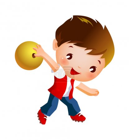 Boy holding bowling ball