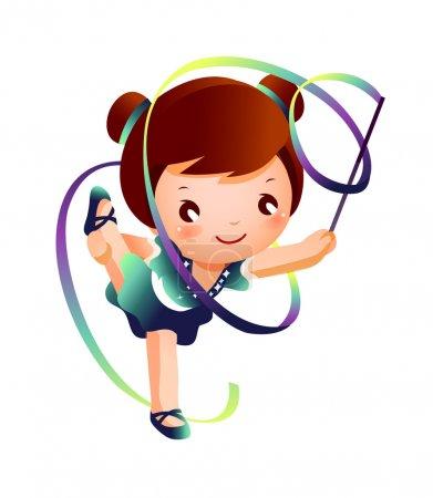 Illustration pour Fille pratiquant gymnaste rythmique performer avec ruban - image libre de droit
