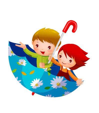 Photo pour Garçon et fille en parapluie Garçon et fille en parapluie - image libre de droit