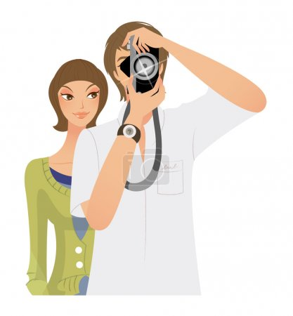 Young man Taking photo and woman standing behind