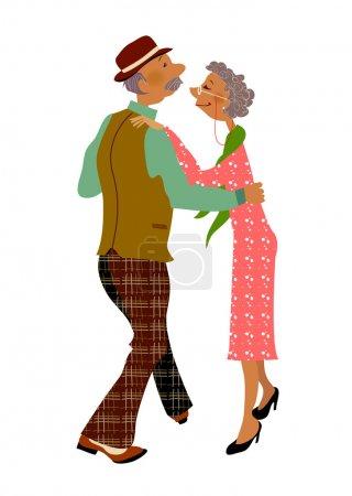 Senior adult dancing together...