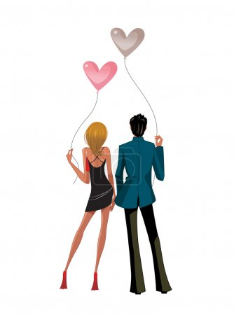 Back view of Couple standing together holding balloons