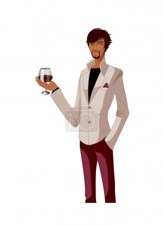 Attractive stylish man with a glass of red wine on a white background