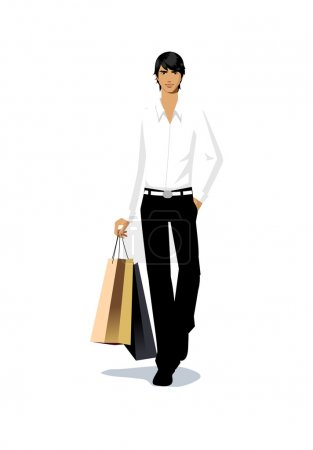 Stylish man going shopping