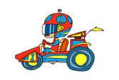 Boy driving a race car