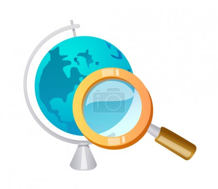 Vector icon globe and magnifying glass