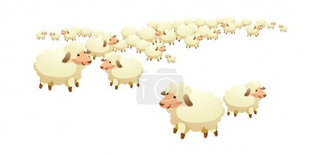 Illustration for Vector, flock of sheep on a white background - Royalty Free Image