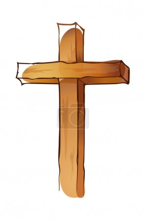 Illustration for Vector, wooden Cross on a white background - Royalty Free Image