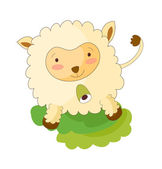 Vector white sheep on a white background
