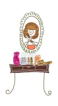 Makeup and dressing table, mirrors