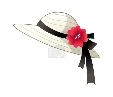 Illustration for Elegant female hat with flowers - Royalty Free Image