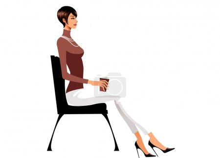 Woman sitting on chair with coffee
