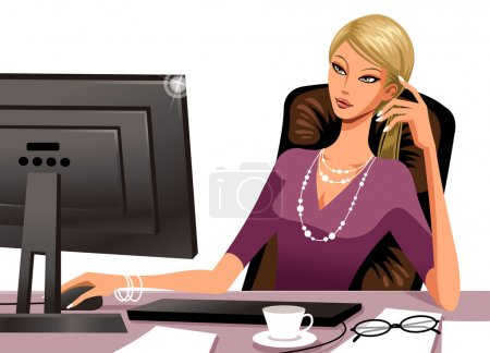 Woman working at the computer