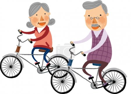 Elderly couple rides on bicycles