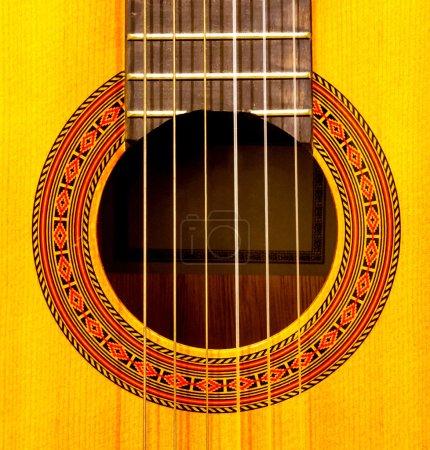 Close-up of sound hole of classic guitar