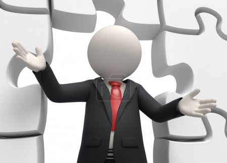 3d business man closeup with puzzles