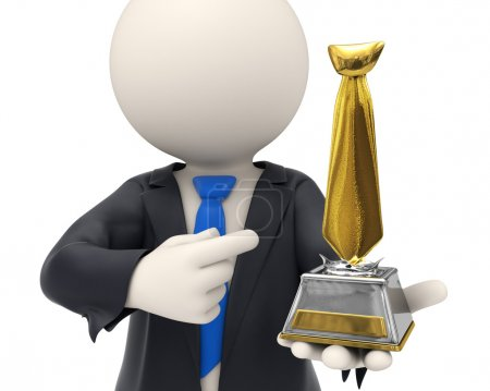 Photo for 3d rendered business man just got awarded and holding a gold tie trophy in his hands - business awards concept - Royalty Free Image