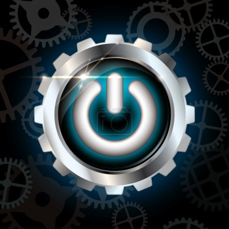 Illustration for Blue power on shining metallic vector button on dark blue background with gear silhouettes and lens flare - Royalty Free Image