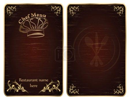 Illustration pour Couvertures de tableau de menu chef restaurant or - vecteur - image libre de droit