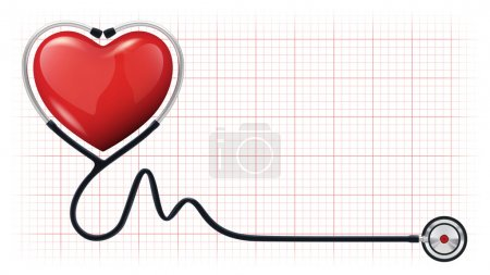 3d heart beat cardiogram stethoscope vector template