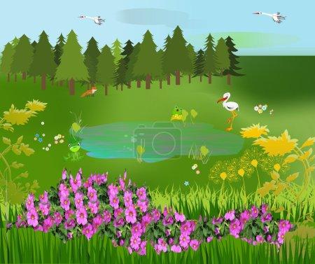 Illustration pour Forêt pendant la floraison printanière des fleurs - image libre de droit