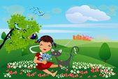 A girl and a cat on a meadow outside the city