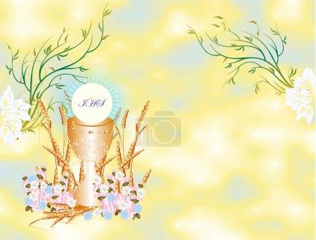 Illustration pour Arrière-plan avec des symboles caractéristiques de la sainte communion - image libre de droit