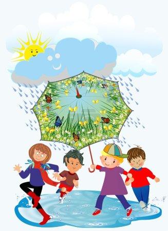 Happy children and rain,