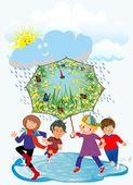 Happy children and rain