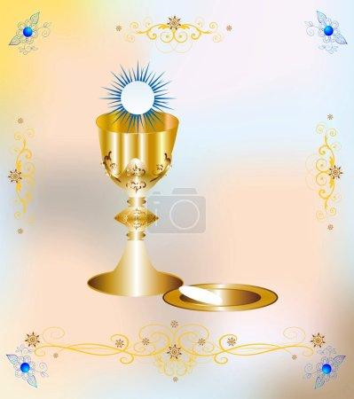 Illustration pour Fond religieux avec des symboles caractéristiques de la sainte communion - image libre de droit