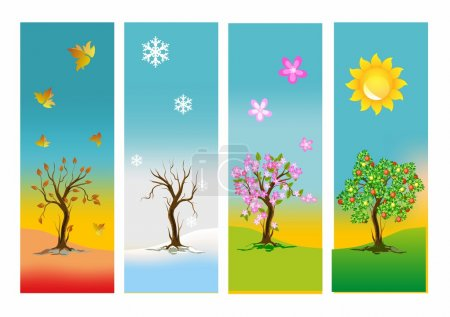 Illustration for Composition shows the changes in the environment during the year - Royalty Free Image
