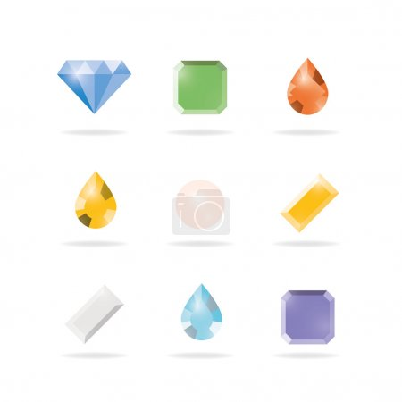Illustration for Set of colored gems isolated on white background, Vector illustration design. - Royalty Free Image