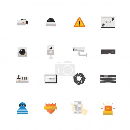 Security camera or CCTV icon set