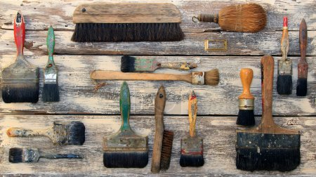 Photo pour Collection de pinceaux vintage . - image libre de droit