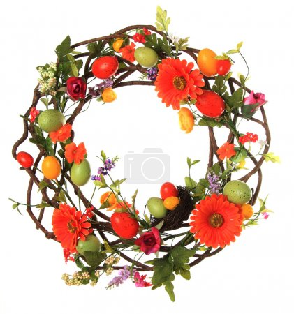 Photo for Easter egg wreath studio isolated on white. - Royalty Free Image