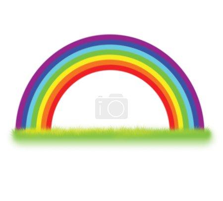 Foto de Arco iris colorido con hierba, Ilustración aislada sobre fondo blanco - Imagen libre de derechos