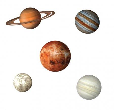 Photo pour Des planètes. les planètes qui composent le système solaire et la lune proéminente inclus. Vénus, Saturne, Jupiter, Lune, Mars. Illustartion isolée sur fond blanc - image libre de droit