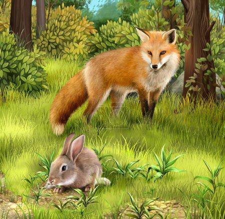 Photo pour Gris lièvre nourrissant d'herbe. chasse renard dans la forêt. illustration réaliste. - image libre de droit